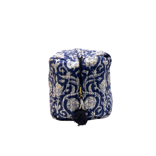 Cotton Quilted Cosmetic Bag - Blue and White - Isabel Harris
