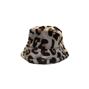 Leopard Print winter hat -available in choice of white, cream & grey