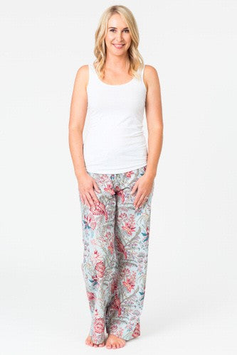 Cotton Pyjama Pants Soft Blue Floral with Pink Flowers - Isabel Harris