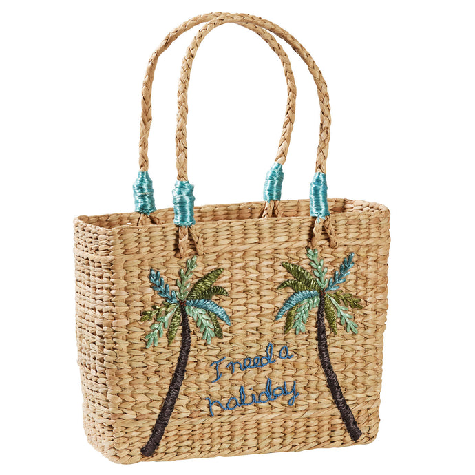 Palm Tree Raffia Basket