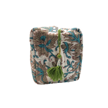 Cotton Quilted Cosmetic Bag - Turquoise & Grey - Isabel Harris