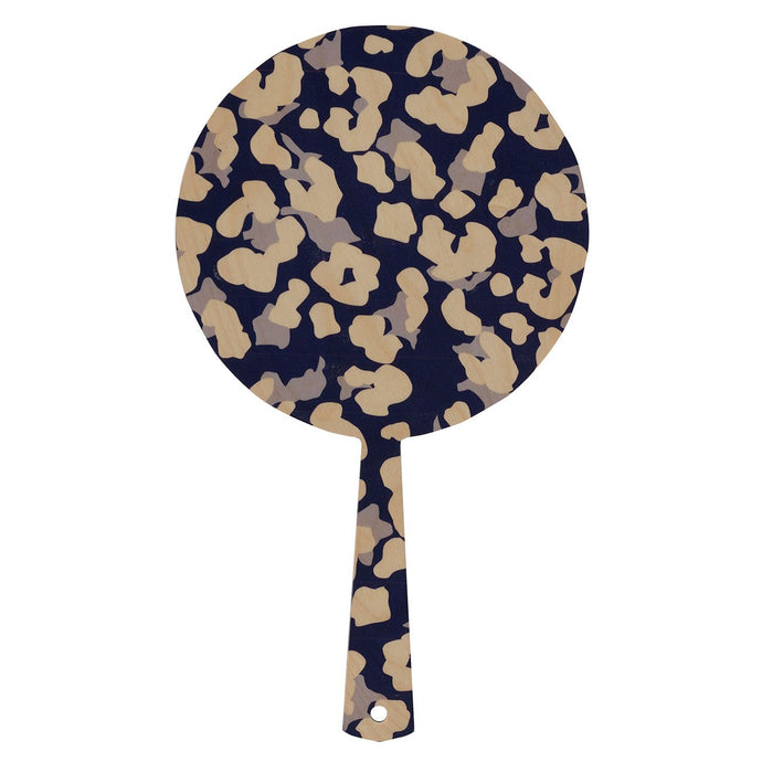 Hand mirror decorated timber - Cheetah Navy - Isabel Harris