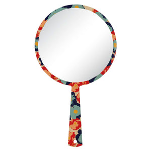Hand mirror decorated timber - Poppy Navy - Isabel Harris