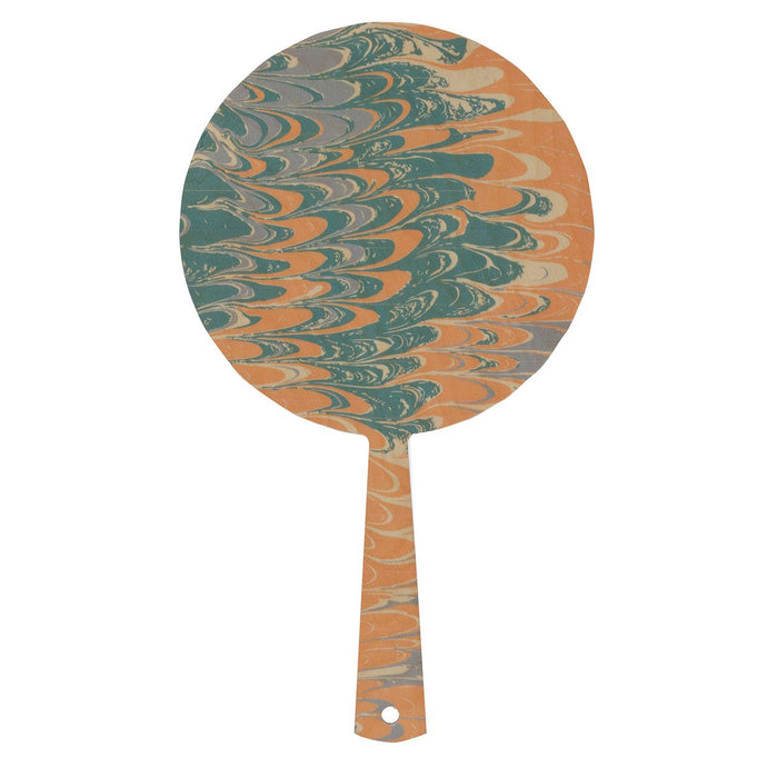Hand mirror decorated timber - Seafoam Marble Peach - Isabel Harris