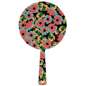 Hand mirror decorated timber - Poppy Black - Isabel Harris