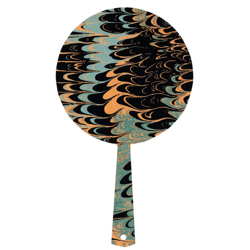 Hand mirror decorated timber - Seafoam Marble Black - Isabel Harris
