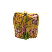 Cotton Quilted Cosmetic Bag - Yellow & Pink - Isabel Harris