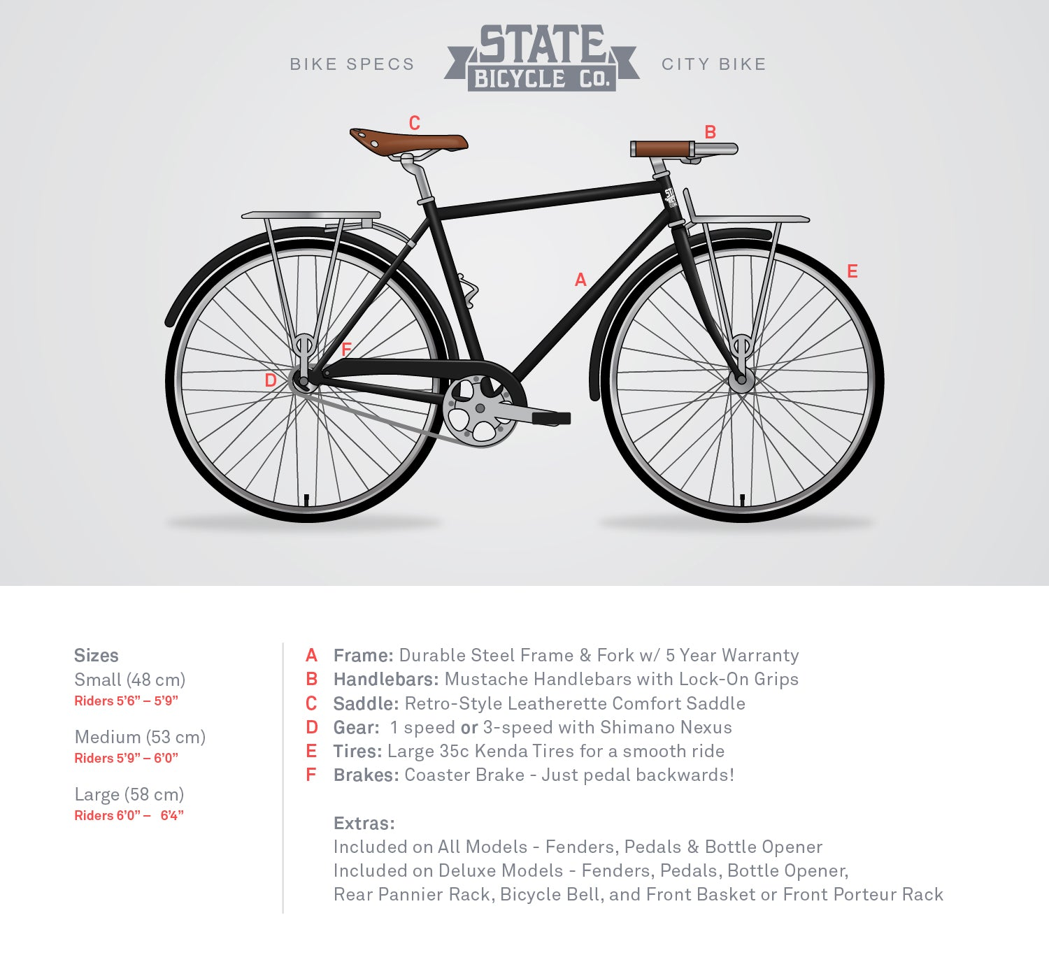 Matte Black 6 Bicycle Fixie Fixed Gear Bikes State Bicycle Co