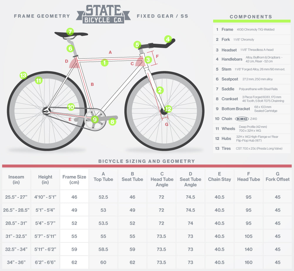 Size Chart State Bicycle Co