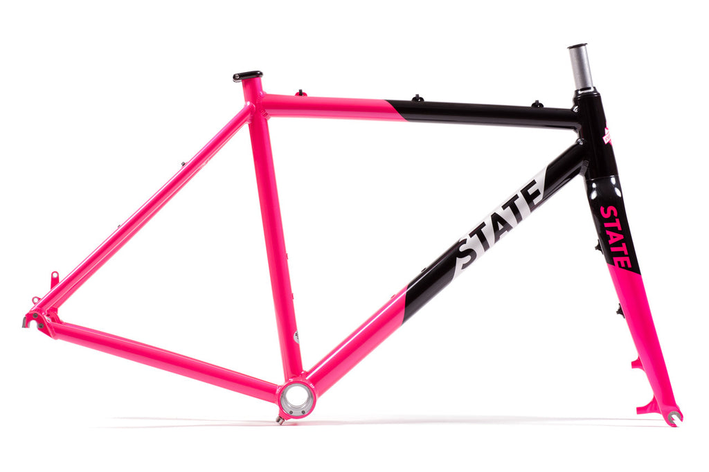 Thunderbird - Gravel / CycloCross Bike Frame + Fork: Black & Pink