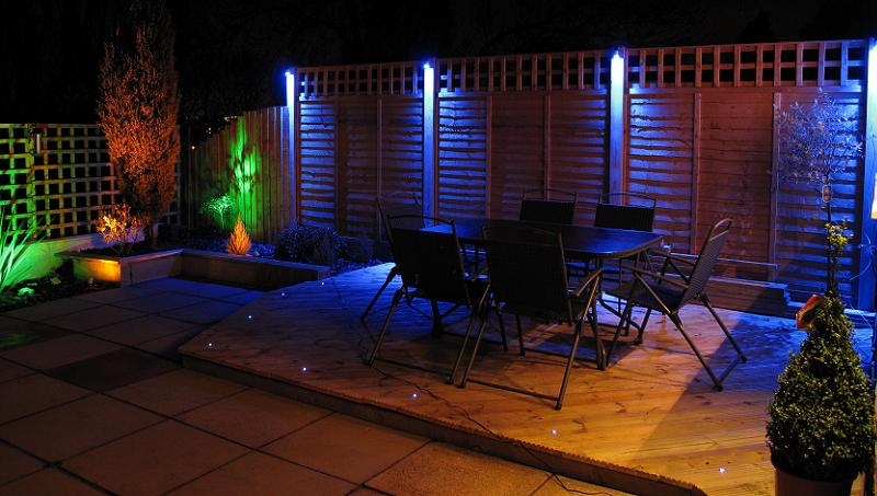 Blue garden lighting