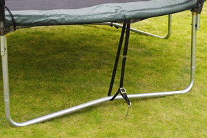 Tie down kits help prevent trampolines being blow away.
