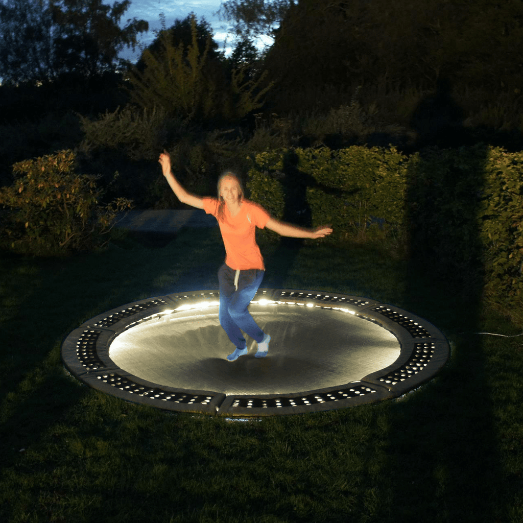 Yellow trampoline lighting