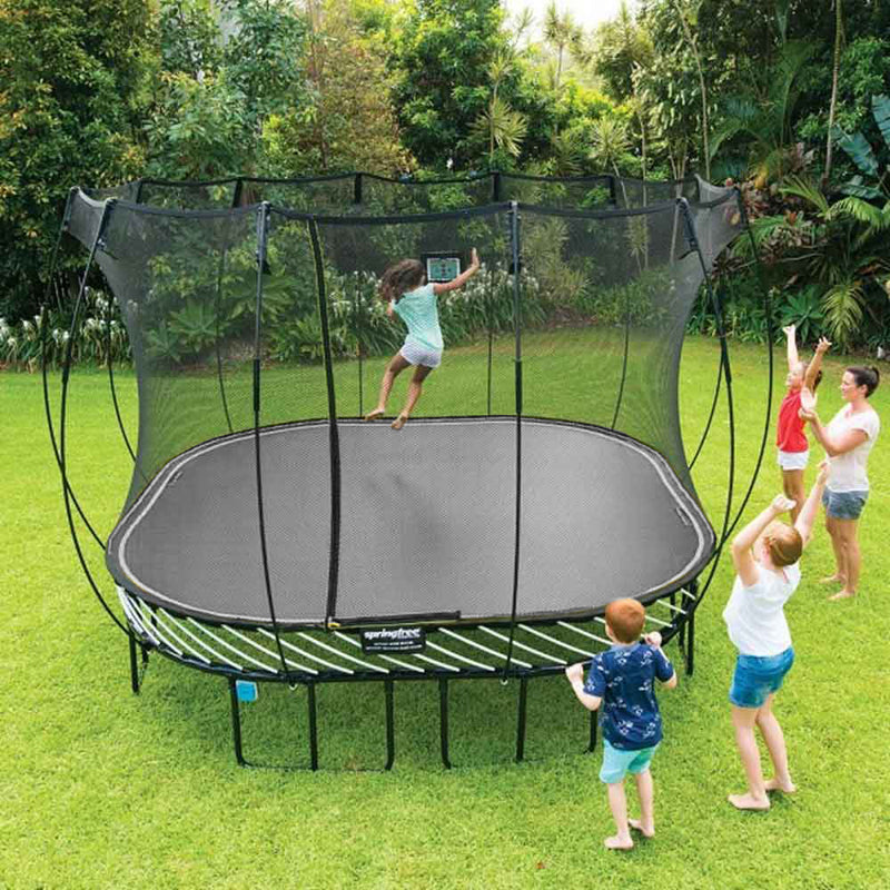 children playing on Springfree 11ft Trampoline