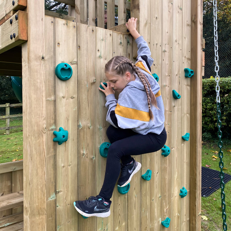 With a platform height of 2.1m - the Pioneer is our highest and most challenging climbing frame.