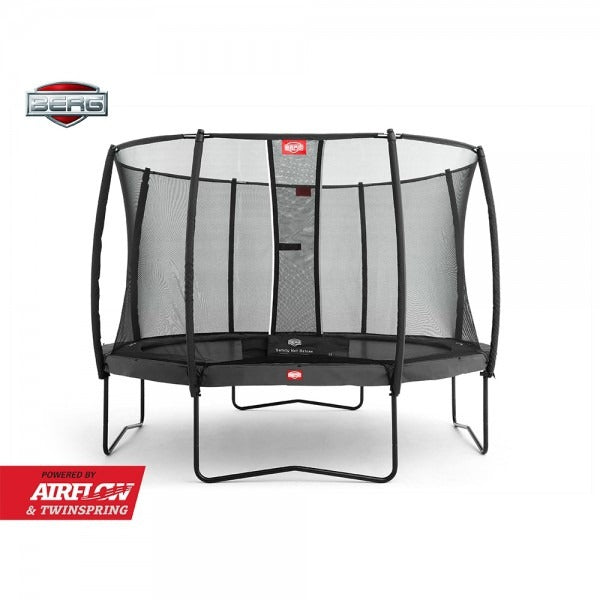 12.5ft BERG Champion Trampoline + Safety Net Deluxe 380 Grey