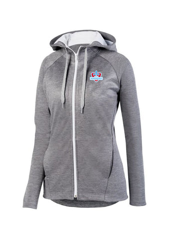 Full Zip Ladies Wicking Hoodie Maine Nordiques Logo