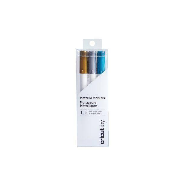 Cricut JoyMetallic Markers, 1.0 mm (3 ct) | Gold, Silver, Blue