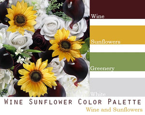 Wine Sunflower Color Palette - Elopement Package