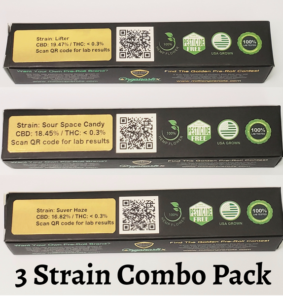 3 Pack - Organastix 1g Pre-Rolls (Suver Haze, Lifter & Sour Space Candy)
