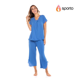 Sporto Ladies Lace Trim Capri Set