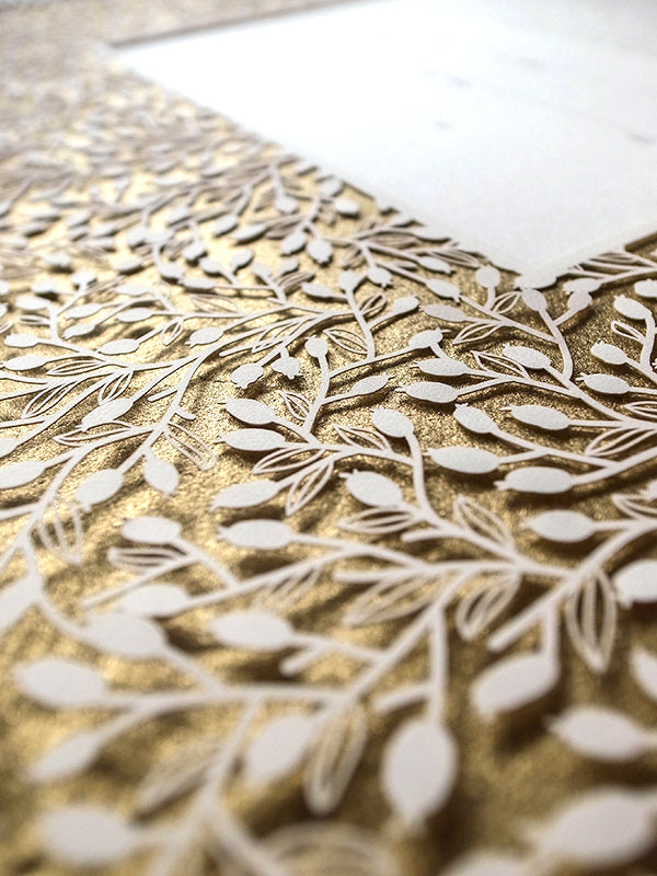 Papercut Ketubah Border Design (Metallic) Lace Leaves