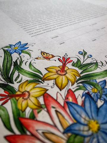 Signature Ketubah Design (Cotton Paper) Tattoo Wild Flowers