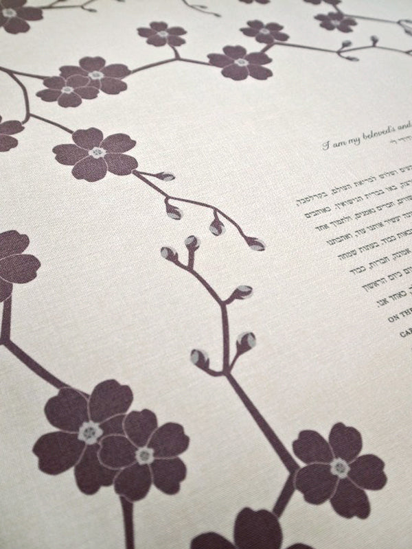 Signature Ketubah Design (Bookcloth) Cherry Blossoms Branch