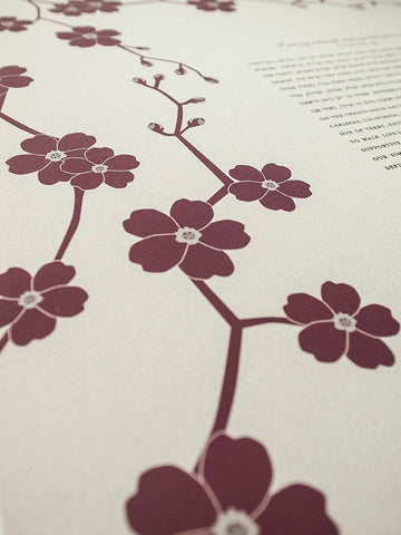 Signature Ketubah Design (Cotton Paper) Cherry Blossom Branch