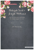 Quaker Marriage Certificate - Blooming Peonies (parchment slate blue)