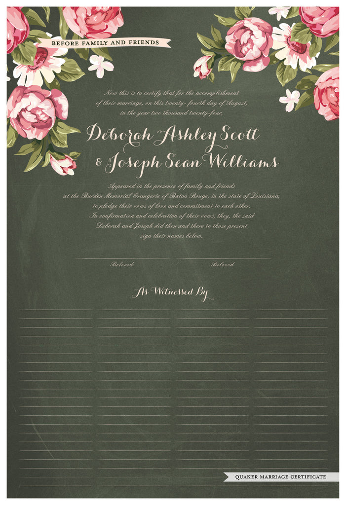 Quaker Marriage Certificate - Blooming Peonies (chalkboard moss)