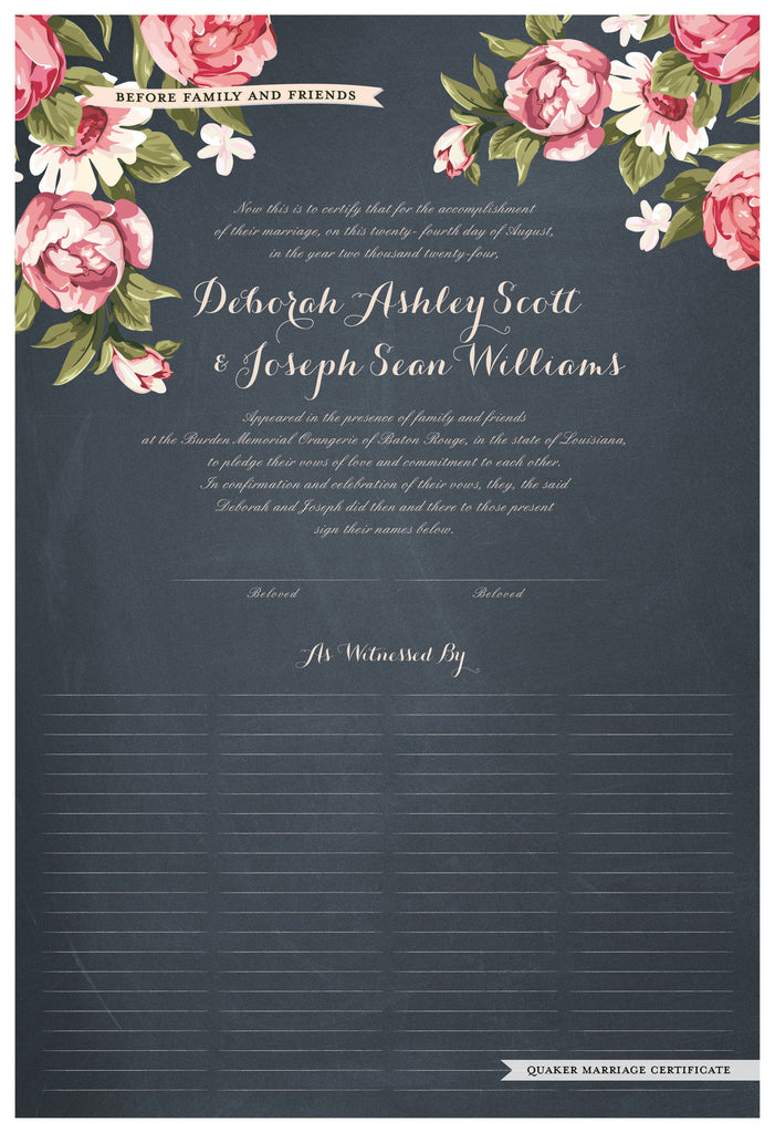 Quaker Marriage Certificate - Blooming Peonies (chalkboard slate blue)