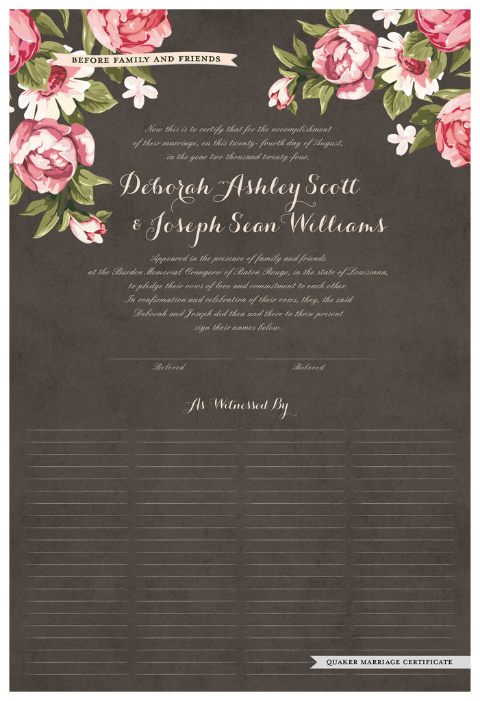 Quaker Marriage Certificate - Blooming Peonies (parchment charcoal)