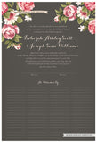 Quaker Marriage Certificate - Blooming Peonies (charcoal)