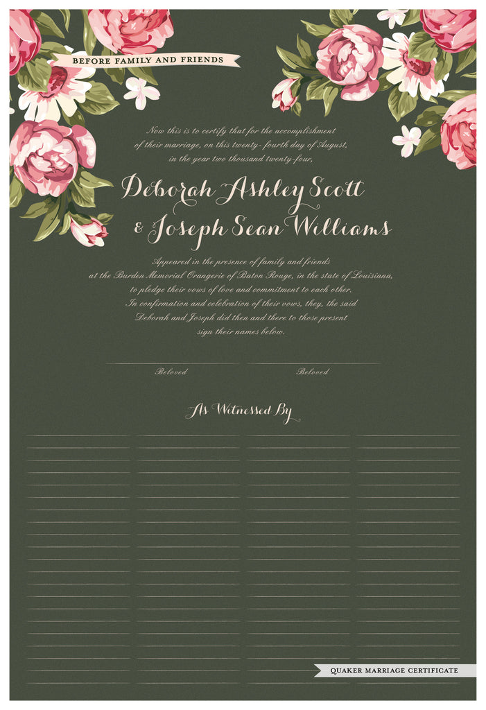 Quaker Marriage Certificate - Blooming Peonies (moss)