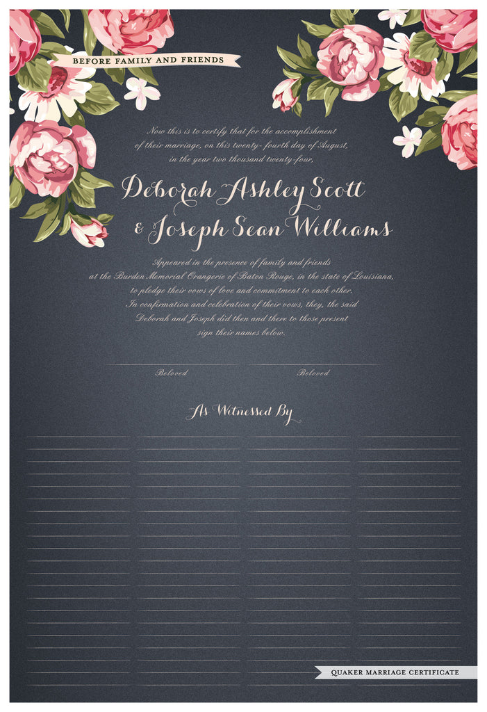 Quaker Marriage Certificate - Blooming Peonies (slate blue)