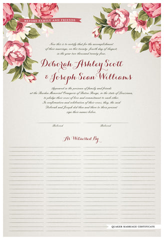Quaker Marriage Certificate - Blooming Peonies (ascot gray)