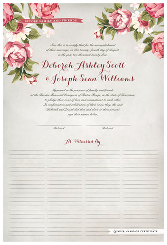 Quaker Marriage Certificate - Blooming Peonies (watercolor ascot gray)