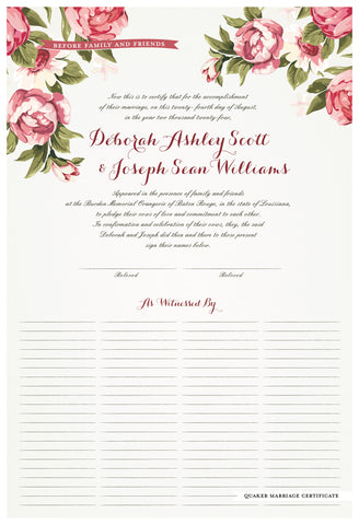 Quaker Marriage Certificate - Blooming Peonies (eggshell)