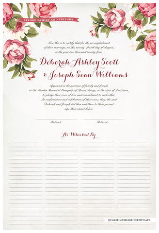 Quaker Marriage Certificate - Blooming Peonies (watercolor eggshell)