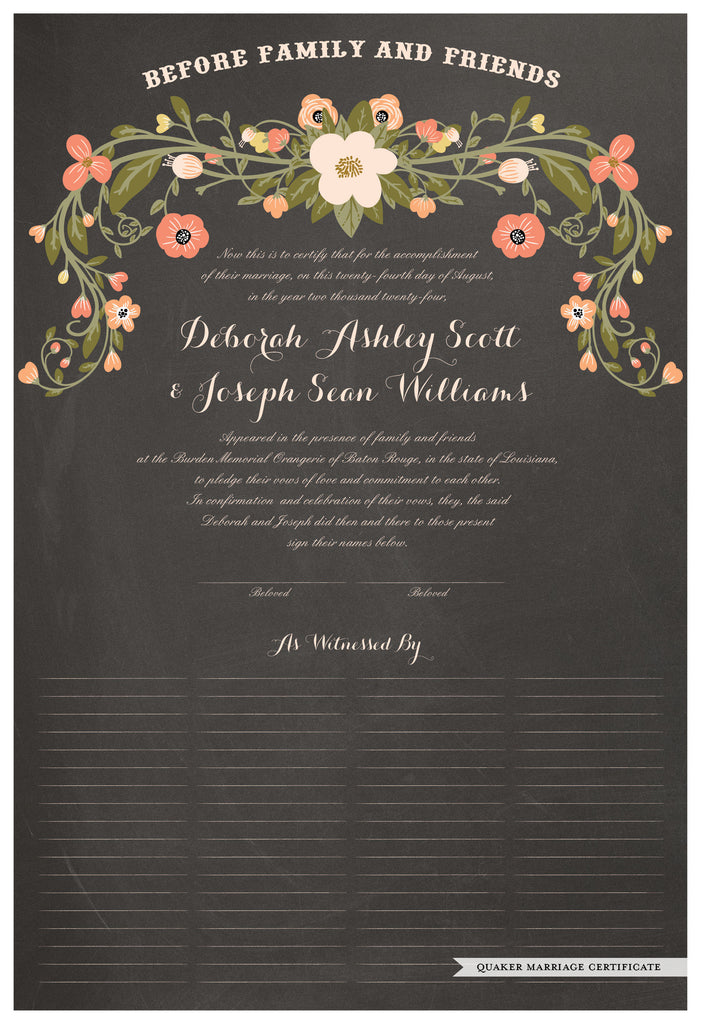 Quaker Marriage Certificate - Flower Garland (chalkboard charcoal)