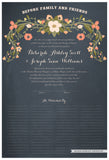 Quaker Marriage Certificate - Flower Garland (chalkboard slate blue)
