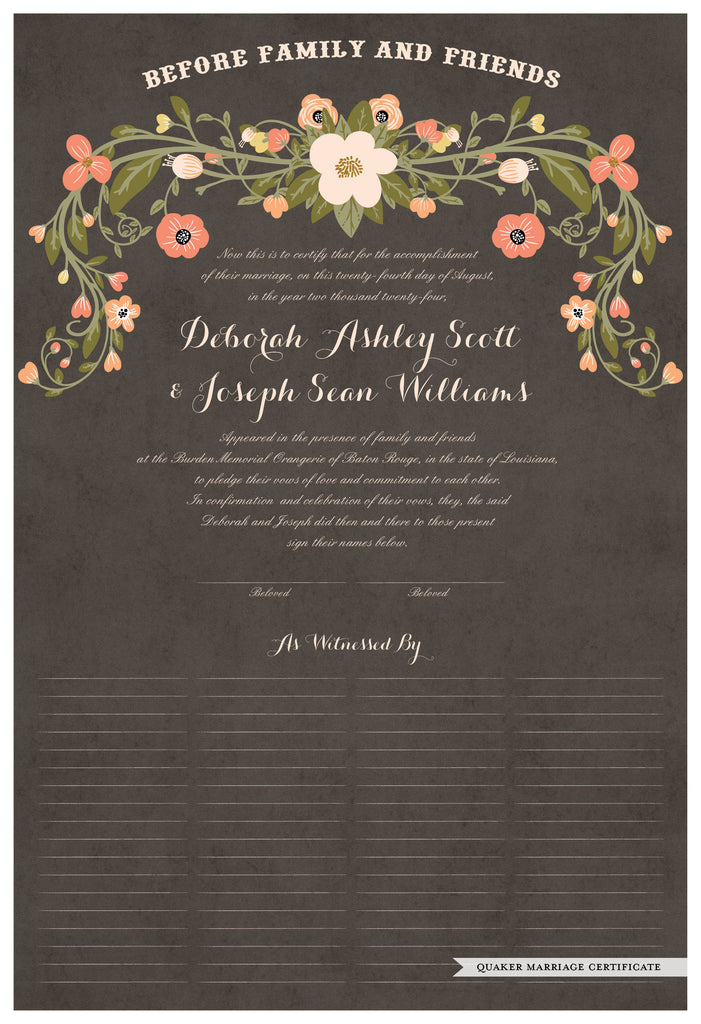 Quaker Marriage Certificate - Flower Garland (parchment charcoal)