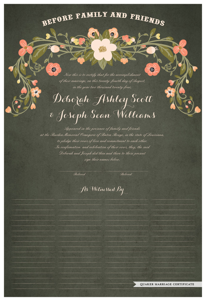 Quaker Marriage Certificate - Flower Garland (parchment moss)