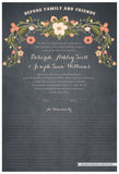 Quaker Marriage Certificate - Flower Garland (parchment slate blue)