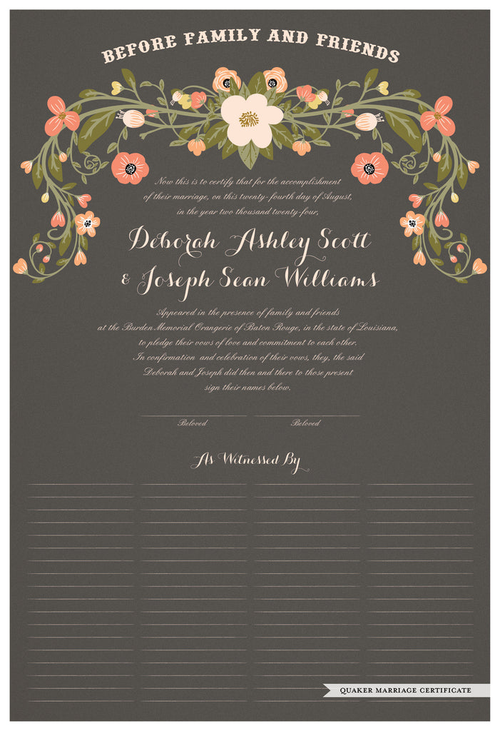 Quaker Marriage Certificate - Flower Garland (charcoal)