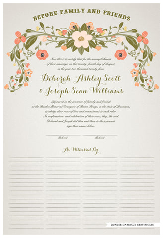 Quaker Marriage Certificate - Flower Garland (ascot gray)