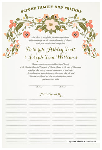 Quaker Marriage Certificate - Flower Garland (eggshell)