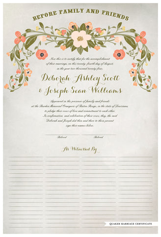Quaker Marriage Certificate - Flower Garland (watercolor ascot gray)