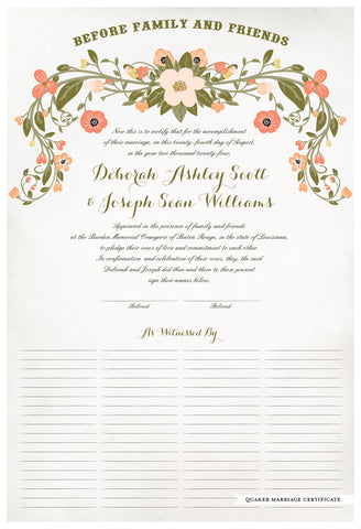 Quaker Marriage Certificate - Flower Garland (watercolor eggshell)